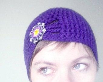 Vibrant Acai Purple Custom Crochet Hat for Women / Little Girls / Toddlers / Baby Girls - 1920s Style Flapper Cloche Turban Beanie
