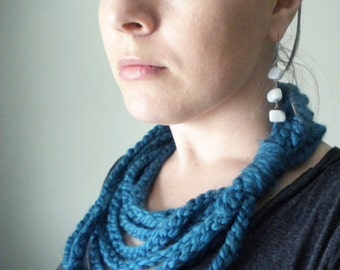 Crochet Infinity Scarf in Teal Wool-Blend Yarn - Winter Chain Scarf / Infinity Scarves for Women