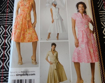 Simplicity 3877 Misses Wrap Style Dress Pattern sizes 14 16 18 20 22 UNCUT