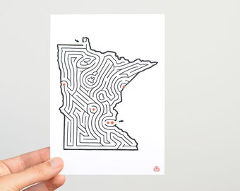 "MINNESOTA Maze 5x7"" Postcard 