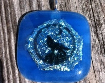 Blue Dichroic Glass Pendant Wolf Howling at the Moon