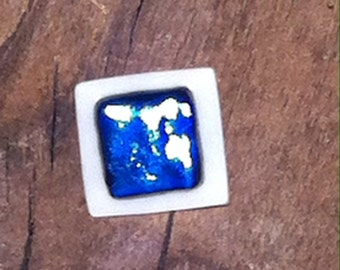 Blue and Grey Fused Dichroic Glass Silver Plated Adjustable Ring