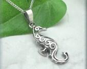 Filigree Seahorse Necklace, Sterling Silver, Beach Jewelry, Ocean Jewelry, Beach Necklace, Sea Horse Necklace, Ocean Animal (SN897)