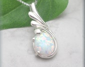 Opal Necklace, October Birthstone, Sterling Silver, Gemstone Jewelry, Gemstone Necklace, Opal Jewelry, Modern Necklace, Opal Pendant (SN880)