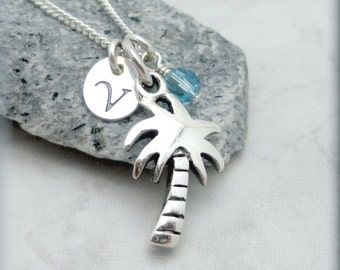 Palm Tree Necklace, Personalized Jewelry, Birthstone Necklace, Sterling Silver, Tropical Necklace, Beach Necklace, Initial Charm (SN903)