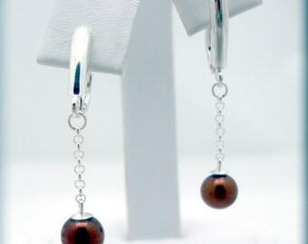 Brown Pearl Earrings, Sterling Silver, Leverback Earrings, Dangle Earrings, Drop Earrings, Natural Cultured Pearl, June Birthstone (SE612)