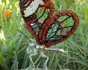 Beaded Glass Wing Sculpture.
