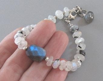 White Labradorite Bracelet Sterling Silver Bead  DJStrang Blue Color Flashing Gemstone Boho Cottage Chic
