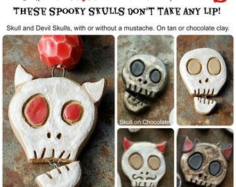 """Talking Skulls / Ceramic Skull """"Talking"""" Pendant (Made When Ordered)"""