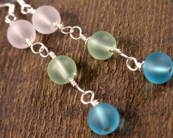 Beach glass, turquoise blue, lime green, frosted white sea glass beads, and silver handmade earrings