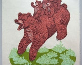 Woodcut Print, Woodblock Print Mama Bear by Tugboat Printshop