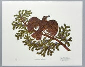 Woodcut Print, Woodblock Print, Robin and Juniper by Tugboat Printshop