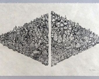 Left Right - Woodcut Print, Woodblock Print by Tugboat Printshop
