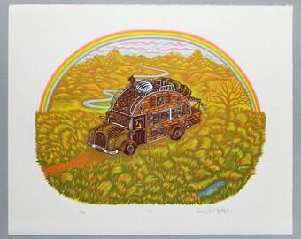 RV - Woodcut Print, Woodblock Print by Tugboat Printshop