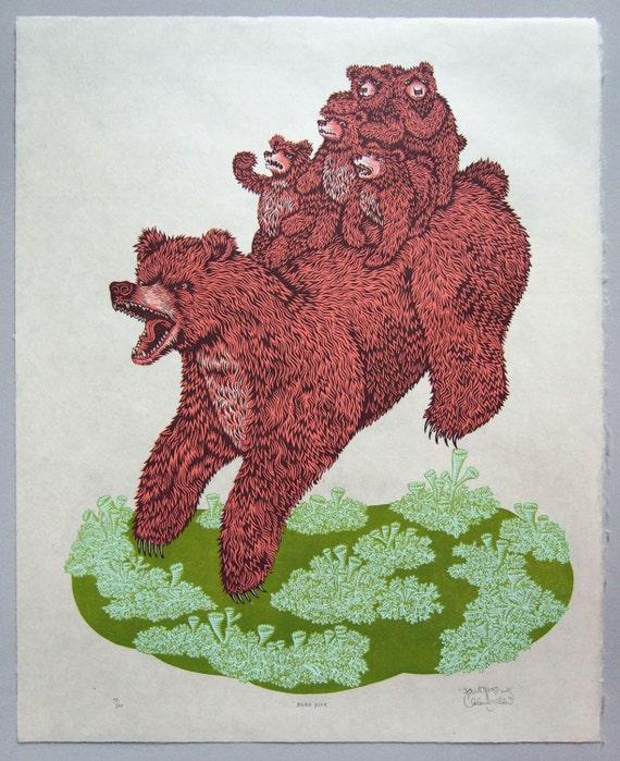 Woodcut Print, Woodblock Print Mama Bear by Tugboat Printshop