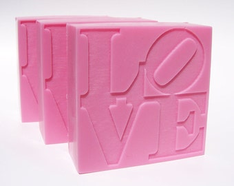 LOVE Soap, Philadelphia Love Sign, Wedding Favors, Custom Scent, Custom Color