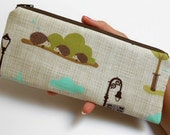 Long  Zipper Pouch Cosmetic Bag Pencil Case ECO Friendly Padded NEW Park Square