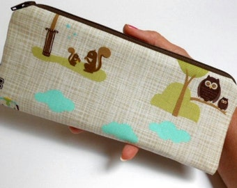 SALE Long  Zipper Pouch Cosmetic Bag Pencil Case ECO Friendly Padded NEW Park Square
