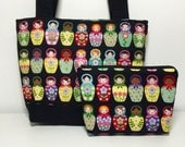 Matryoshka Nesting Dolls Purse with Cosmetic Pouch and Pocket Mirror