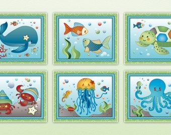 Set of Six Ocean Dreams Nursery Art Prints - made to match a beddding set. Octopus, Jellyfish, Whale, Crab, Sea Turtle, Seahorse