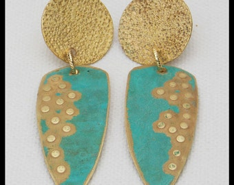 OUT of EGYPT - Handforged Patinated Hammered 2 Section Bronze Statement Earrings