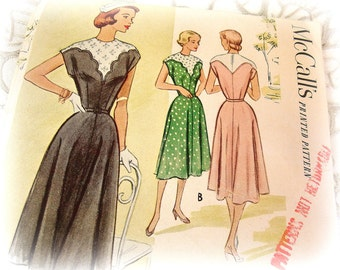 vintage mccall's dress pattern 8501 . 1950s mcCall's size 12 bust 30 scallop yoke cap sleeves