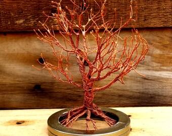 Copper Wire Tree on Steel Base