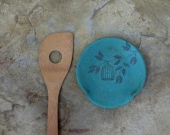 Spoon Rest - Handmade Stoneware Ceramic Pottery - Copper Patina Green - Branch and Bird Cage