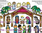A Digital PDF File for A Little Nativity Countdown Calendar Clipart Magnetic For Fridge or Magnetic Board by Peggytoes