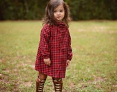 red and black plaid flannel cowl neck dress Supayana Fall