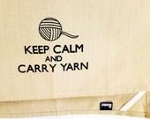 Keep Calm and Carry Yarn kitchen tea towel. Silk screened cotton dish towel.