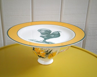 Rooster Cake Plate / Cupcake Stand. Vintage Collectible Upcycled Cottage Chic Farm House Green Rooster Platter & Flower China Tea Cup Base
