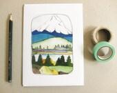 Mt Hood Greeting Card - Mt Hood Illustration - Blank Greeting Card - Oregon Stationery - Mt Hood Stationery - Mt Hood Card
