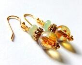 Green Aventurine Earrings, Rustic Earrings, Czech Glass, Gold Plated