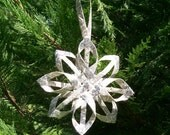 Ornament, Woven Star, Christmas Tree Ornamnet, Bling, Star, Vintage, Wedding, Anniversary, Housewarming, Handmade, Silver, Shining star