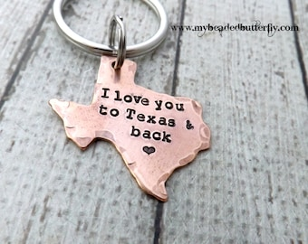 Texas-keychain-ornament-handstamped-personalized-i love you to texas and back