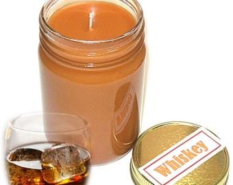 Whiskey Scent Mason Jar Candle 12 Oz Handmade