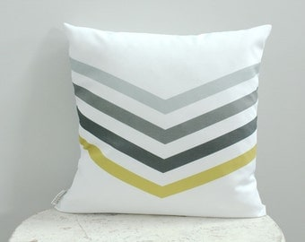 Pillow cover grey chevron 18 inch 18x18 modern hipster accessory home decor nursery baby gift present zipper closure canvas ready to ship
