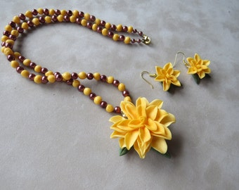 Yellow Cold Porcelain Beaded Floral Necklace and Earring Set