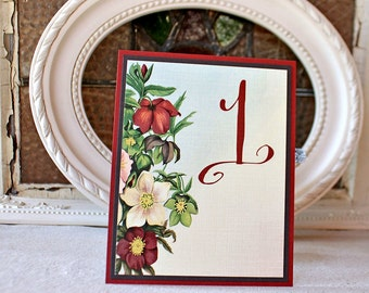 Wedding Reception Table Numbers Marsala Floral Vintage Garden Autumn