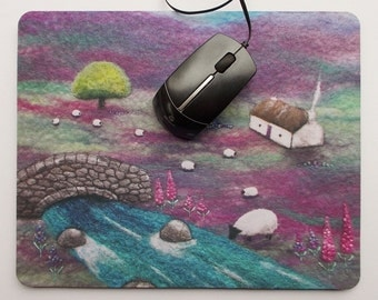 Mousepad, Mouse mat Cottage, Sheep and Stream