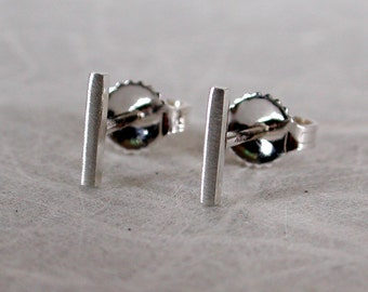 7mm x 1mm Brushed Silver Bar Earrings Thin Minimalist Studs Sterling Silver by SARANTOS