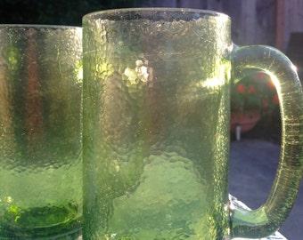 Clear Textured Glass Green Mugs