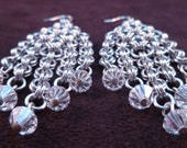Chandelier Chain Maille Earrings with Swarovski Crystals