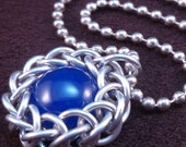 Wrapped Blue Gemstone Chain Maille Pendant - Chain Included - Small