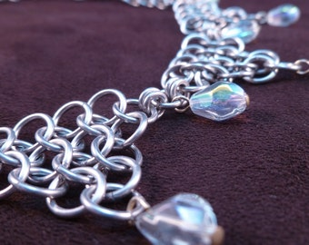 Crystal Tears - Chain Maille Necklace