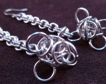 Tetra Orb Chain Maille Earrings