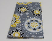 Checkbook Cover - Yellow White Flowers on Gray