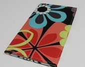 Checkbook Cover - Bold Mod Flowers Floral