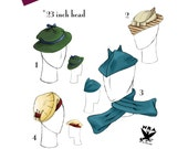 NVL 1930s Hat Quartet with Scarf repro pattern 23 inch head in PDF 1532